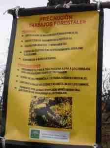 Cartel trabajajos forestales